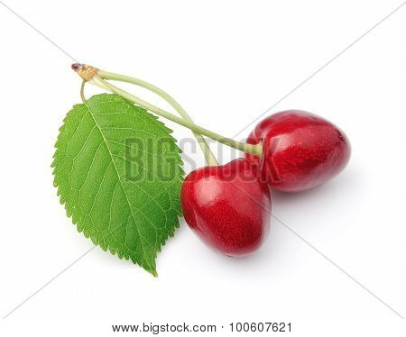 Sweet Cherry Fruits Closeup On White.