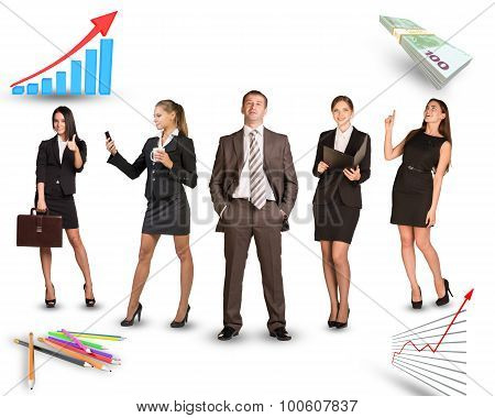Group of business people in different postures