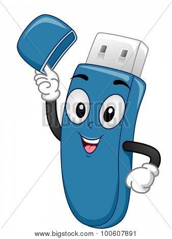 Mascot Illustration of a USB Stick Lifting its Cap