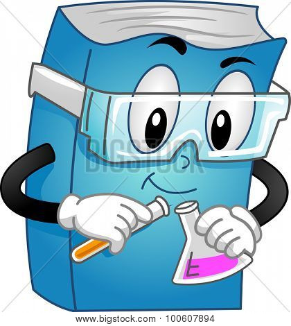 Mascot Illustration of a Chemistry Book Conducting an Experiment