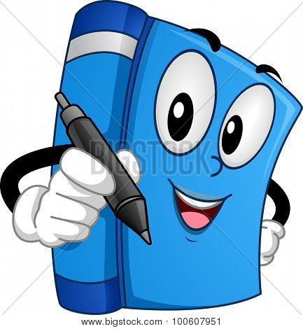 Mascot Illustration of a Book Holding a Pen at a Book Signing Event
