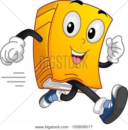 Mascot Illustration of a Book Running at Full Speed