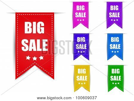 Labels big sale different color with shadow