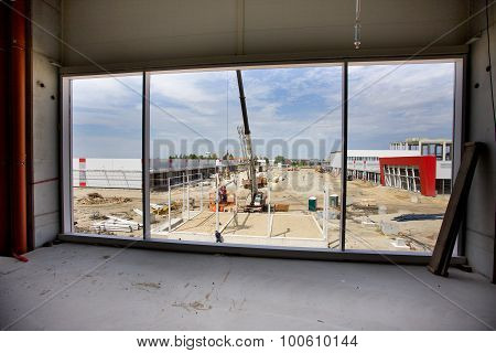Building Site Through Window