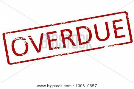 Rubber stamp with word overdue inside vector illustration