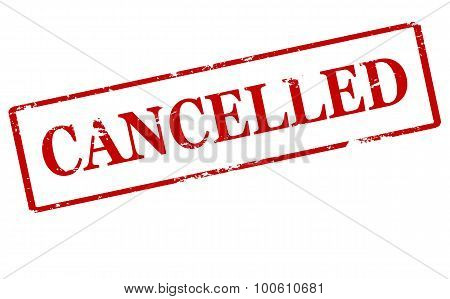 Rubber stamp with word cancelled inside vector illustration