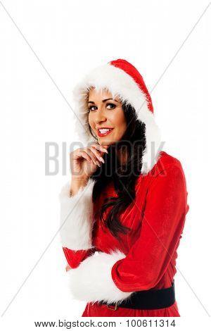 Smiling santa woman touching her chin.