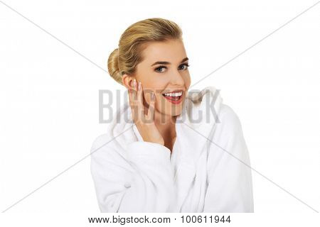 Young happy woman after bath,isolated on white.