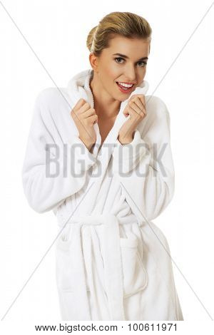 Young happy young woman after bath, isolated on white.