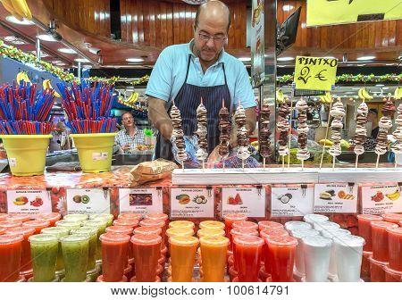 Fresh Juices Assortie At The Boqueria Market