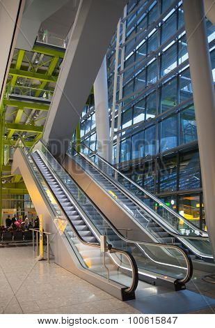 LONDON, UK - MARCH 28, 2015: Interior of departure hall Heathrow airport Terminal 5. New building