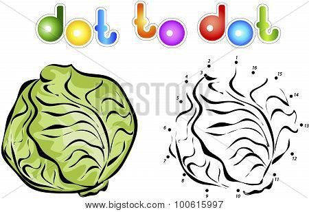 Big And Ripe Cabbage. Educational Game For Kids: Connect Numbers Dot To Dot And Get Ready Image