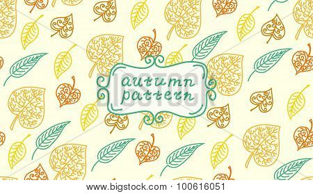 Leaves autumn pattern. In retro style. It contains simple forms of leaves. Color version.