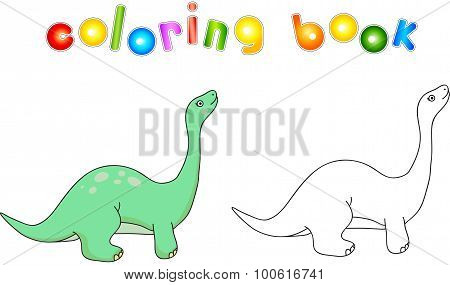 Funny Cute Diplodocus. Educational Game For Kids. Coloring Book