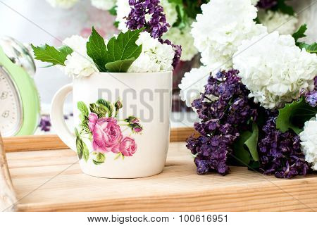 Bunch Lilac Flowers In A Bowl