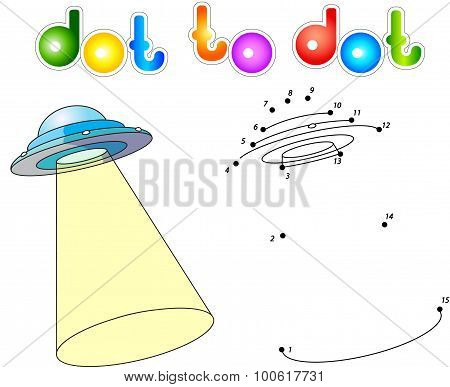 Ufo With Light Beam. Flying Saucer. Connect Dots And Get Image.