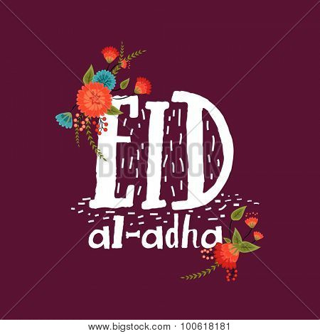 Elegant greeting card design decorated with colorful flowers and stylish text Eid-Al-Adha on purple background for Muslim community festival celebration.