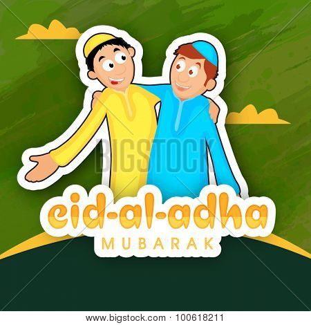 Creative sticky design with illustration of happy Muslim people enjoying and celebrating on occasion of Islamic festival, Eid-Al-Adha Mubarak.
