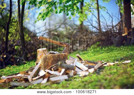 Axe And Logs On The Stump