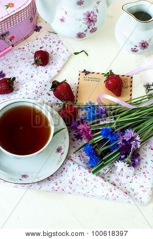Morning Tea, Strawberries And A Bouquet Of Cornflowers