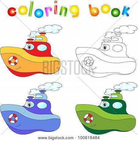 Funny Cartoon Steamship.