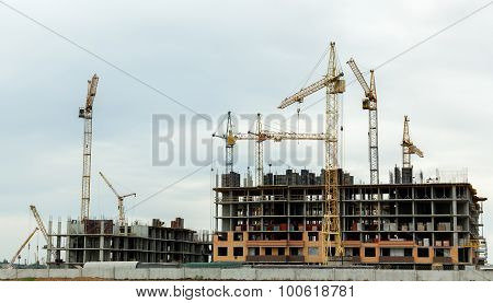 Construction Of Houses, Construction Cranes, Construction Materi