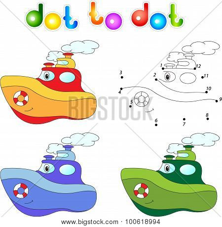 Funny Cartoon Steamship. Connect Dots And Get Image.