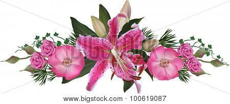 illustration with lily and rose flower stripe isolated on white background