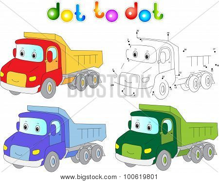 Funny Cartoon Lorry. Connect Dots And Get Image.