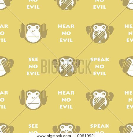 Wise monkey. Seamless vector background.
