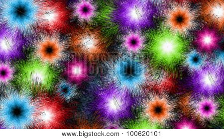 Colorful Royal Flower Bursts Background