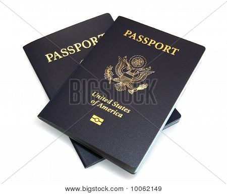 Two United States Passports Isolated On White