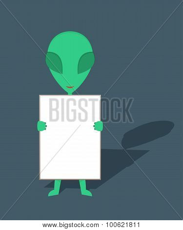 Alien hold blank sign board poster
