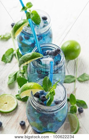 Glasses of fresh,home-made  fresh blueberry juice