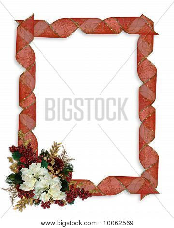 Christmas border ribbons and flower