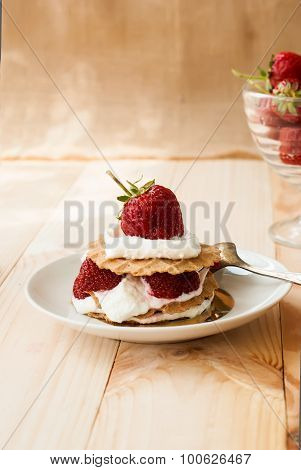 Cake Of Waffles With Strawberries And Cream