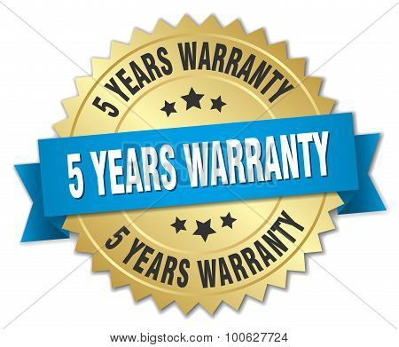 5 Years Warranty 3D Gold Badge With Blue Ribbon