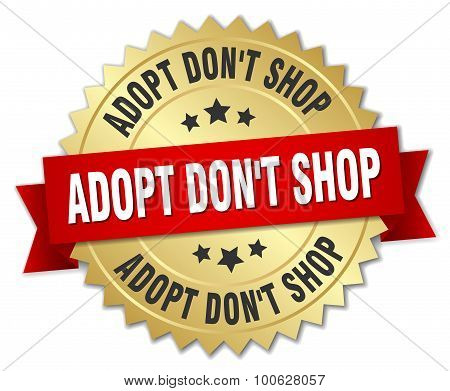 Adopt Dont Shop 3D Gold Badge With Red Ribbon