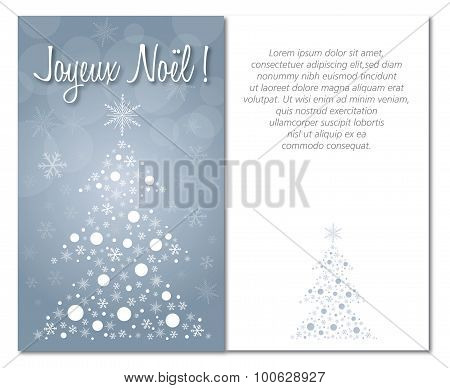 merry christmas greeting card front and interior or back illustration french