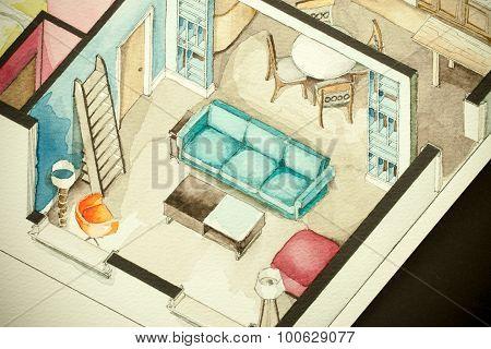 Floorplan expressing artistic trends in living-room design