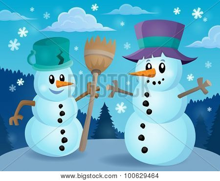 Winter snowmen thematic image 1 - eps10 vector illustration.