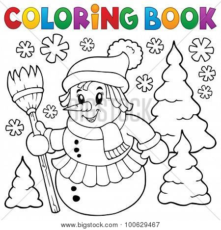 Coloring book snow woman topic 1 - eps10 vector illustration.