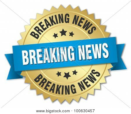 Breaking News 3D Gold Badge With Blue Ribbon