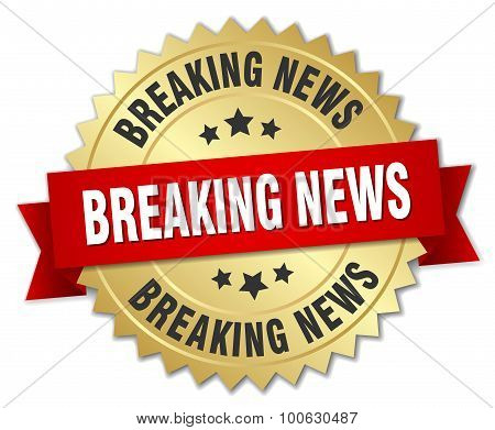 Breaking News 3D Gold Badge With Red Ribbon