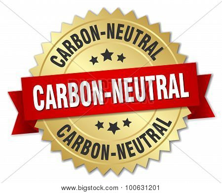 Carbon-neutral 3D Gold Badge With Red Ribbon