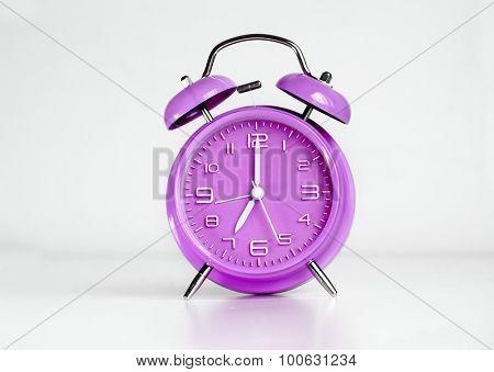 Purple analog retro twin bell alarm clock