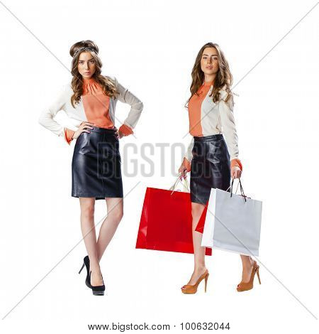 Collage two sexy girls. Full length portrait of a beautiful young brunette women posing with shopping bags, isolated on white background