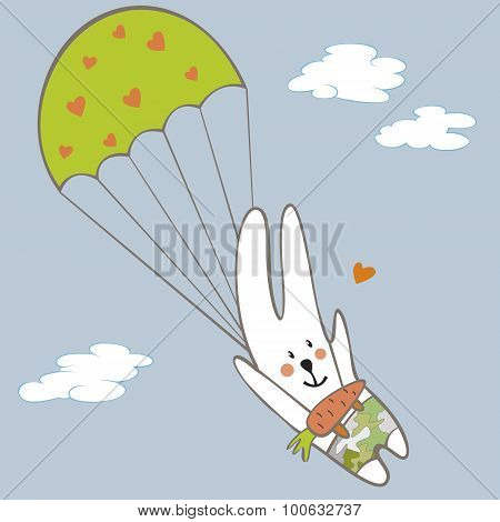 Rabbit Parachutist In The Sky