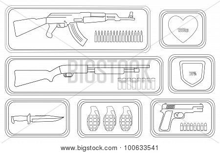 Video Games Weapon Set. Contour