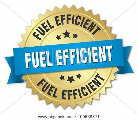 Fuel Efficient 3D Gold Badge With Blue Ribbon